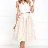 Beauty in Abundance Light Gold Jacquard Midi Skirt