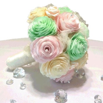 Custom handmade Bridal bouquet in Mint green, blush and ivory aritificial paper Peonies, satin rosebuds, tulle and an organza brooch flower