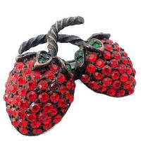Designer Strawberry Brooch Pin Signed WEISS Red Rhinestone Forbidden Fruit 1 3/4 in Vintage