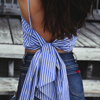 Calm Seas Blue Tie Bow Top