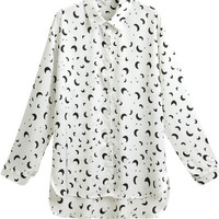 Harajuku Moons and Stars Printing Long Sleeve Chiffon Blouse - S M L XL from Tobi's Finds