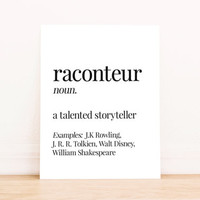 Printable Art Raconteur Definition Typography Poster Home Decor Bedroom Decor