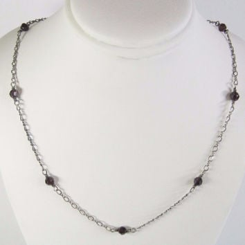 Handmade Vintage Sterling Garnet Necklace