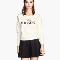 H&M - Sweatshirt with Printed Design - White - Ladies