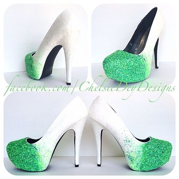 Seafoam Ombre Glitter High Heels, White Mint Green Wedding Shoes