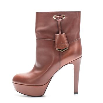 ca spbest Louis Vuitton Brown Leather Ankle Booties Sz 38.5