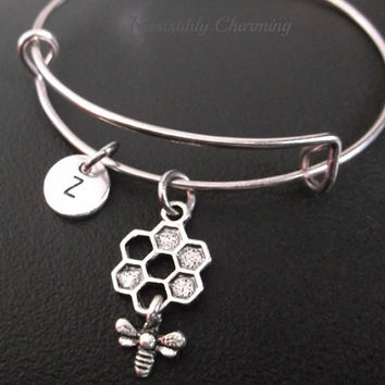 Bumble bee and bee hive bracelet, Stainless Steel Expandable Bangle, monogram personalized item No.235