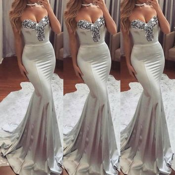 Women Formal Wedding Bridesmaid Long Evening Party Ball Prom Gown Cocktail Dress FT