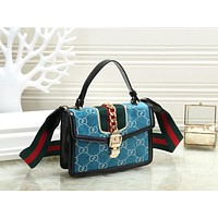 GUCCI Trending Women Stylish Shopping Velvet Leather Handbag Tote Shoulder Bag Crossbody Satchel Light Blue