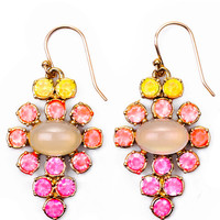Hand-Painted Empress Earring In Yellow And Pink by Lulu Frost for Preorder on Moda Operandi