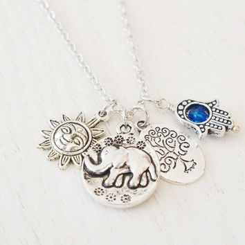 silver elephant necklace,yoga jewelry,bridesmaid gift,sun god,tree of life pendant,hamsa hand long necklace,animal necklace,christmas gift