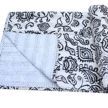 indian Kantha Quilt Handmade Kantha Bedcover Throw Cotton Blanket Gudri Queen kantha Bedspread Ralli