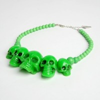 Skull Collection Necklace in Green Size- 938004