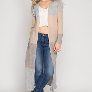 Color Block Maxi Cardigan - Taupe