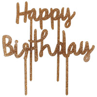 Gold Glitter Happy Birthday Cake Topper Set