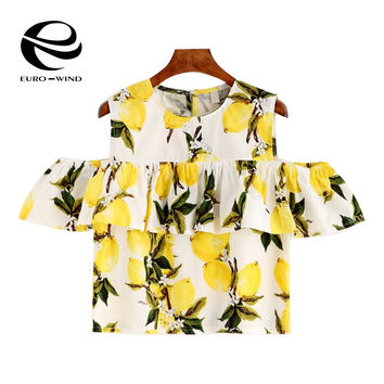 2016 Brand Summer Lemon Shirt with Open Shoulder Top Women Fashion Ladies Drawstring Ruffle Shirts Cold Shoulder Tops Shirt