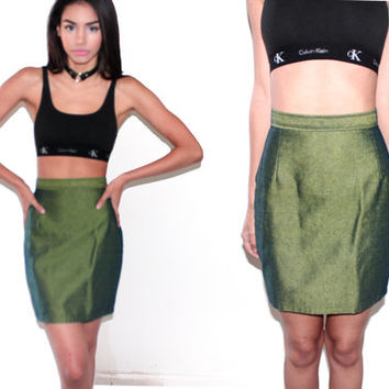 vintage 90s HOLOGRAM Iridescent high waist Pencil CLUB KID cyber Seapunk holographic Skirt