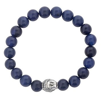Men's Stainless Steel Buddha Bead and Natural Stone Beaded Bracelet (7.5 inches) | Overstock.com Shopping - The Best Deals on Men's Bracelets