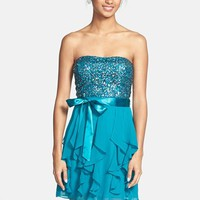Hailey Logan Sequin Bodice Ruffle Dress