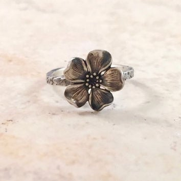 Cherry Blossom Ring - Flower Ring - Wildflower Ring - Sterling Silver Ring for Women - Hippie Ring - Silver Cherry Blossom - Boho Jewelry