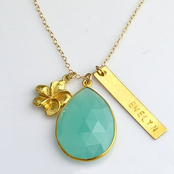 Custom Birthstone bar necklace, baby shower gift, bridesmaid gift, flower charm, name bar necklace, aqua chalcedony necklace, nameplate bar