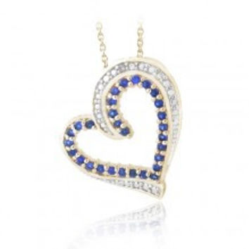 18K Gold Plated Created Sapphire & Diamond Accent Floating Heart Necklace