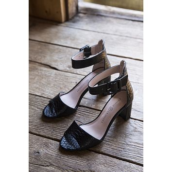 Rumor Snake Block Heels, Black | Chinese Laundry
