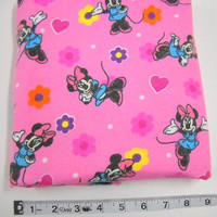 Sewing Fabric, Minnie Mouse Print Fabric, Sewing Notions, Yardage, Pink Fabric, Fabric Remnant, Flannel Print,