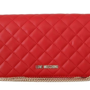 Red Quilted Faux Leather Messenger Bag