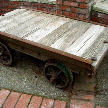 Coffee Table Handcrafted Old Gold Mining Cart by honeystreasures