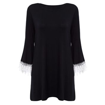Vintage Round Collar Flare Sleeve Spliced Pure Color Dress for Ladies