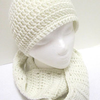 Cream Scarf and Hat Crochet, Crocheted  Cream Cap and Infinity Scarf Set, Simple Cowl and Hat by Crocheted by Charlene