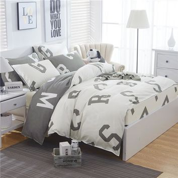 letter Printing King Bedding set USA Size,Duvet cover Sheet Bedroom 4pcs Bedding Bed Linen Grey white boy/adult men home textile