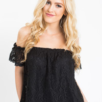 Christy Black Lace Off the Shoulder Top
