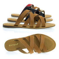 Happiness02 Tan by Bamboo, Flat Slip On Gladiator Strappy Sandals, Women Casual Slipper Shoes