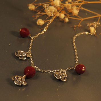 Rose necklace, Charm necklace in sterling silver amd red gemstones