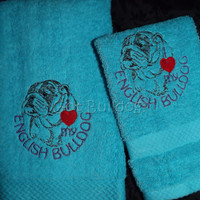 Blue I Love My English Bulldog Embroidered Hand and Wash Towel