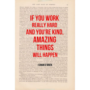 inspirational quote dictionary art print page - AMAZING THINGS Will HAPPEN Conan O'Brien - book page motivational print
