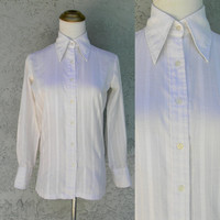 70s Hippie Shirt - Unisex Halloween Costume, Seventies Party Outfit Top - Ivory White Button Up Disco Hippy Shirt w Butterfly Collar Size XS