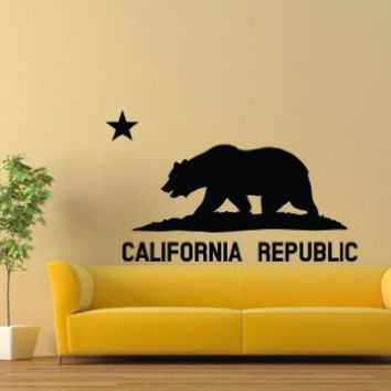 Wall Decal Vinyl Sticker Art California Republic Flag Bear Star USA America V307