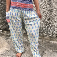 Folkloric Ethnic pattern Pants Gypsy festival Styles Meditation Yoga outfit Clothes Boho Tribal Beach Summer Gift For Women in White blue