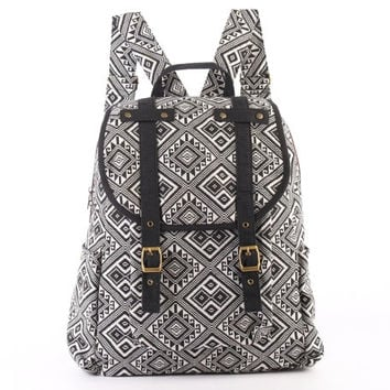 Monochrome Backpack Southwestern Navajo Native American Indian Daypack B&W/ Black and White