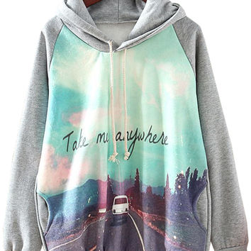 Grey Hooded Long Sleeve Car Print Sweatshirt -SheIn(Sheinside)