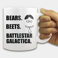 Bears Beets Battlestar Galactica Mug, 11oz white ceramic mug - Dwight Schrute quote, Dwight mug, The Office mug, television show, gift mug