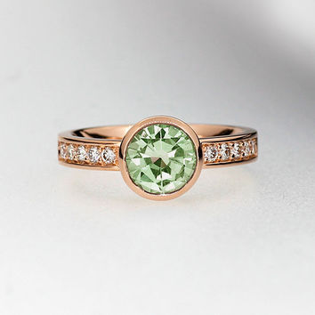 Peridot engagement ring, diamond engagement, green, peridot, bezel, solitaire, unique, rose gold ring, yellow gold, mint green engagement