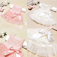 Baby Girls Kids Toddlers Princess Flower Lace Bow One-piece Full Dress Skirt = 1958169028