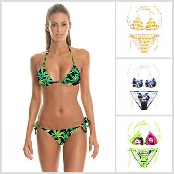 Hot Sexy Green Leaves of Mariguana 3D Print Swimwear for Women Ladies Harajuku Halter Swimsuite Adjustable Cute SW684