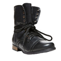 Steve Madden Troopa Black Leather Vintage Boots