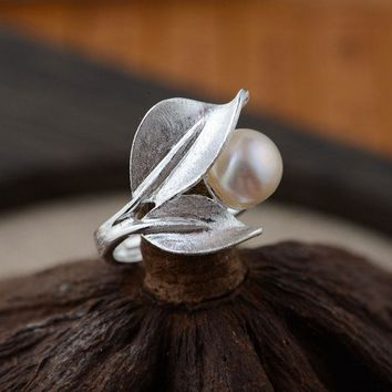Handmade  100% Real Thai 925 Sterling Silver Pearl Flower Adjustable Ring