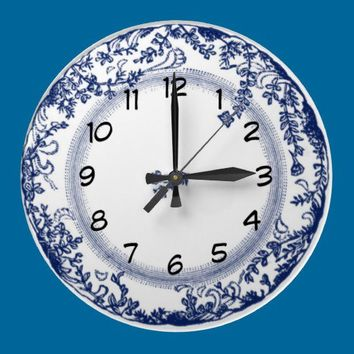 pretty vintage blue delft plate clock from Zazzle.com